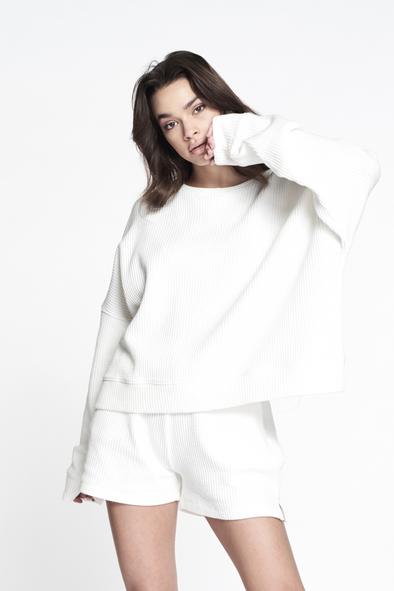 Relaxed fit structured sweater - White