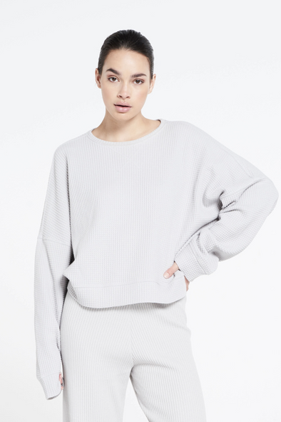 Relaxed fit structured sweater - Mouse Grey