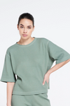 Relaxed fit structured tee - Silvered Olive