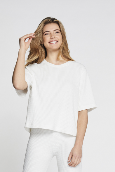Relaxed fit structured tee - White