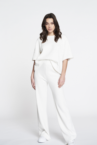 Relaxed fit structured flared pants - White