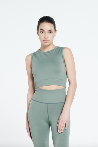 Soft stretch sleeveless top - Silvered Olive