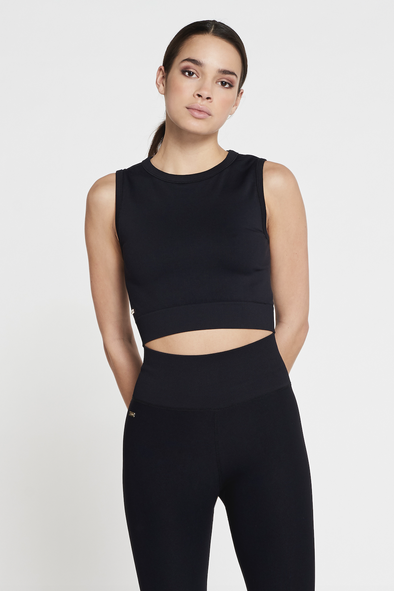 Soft stretch sleeveless top - Black