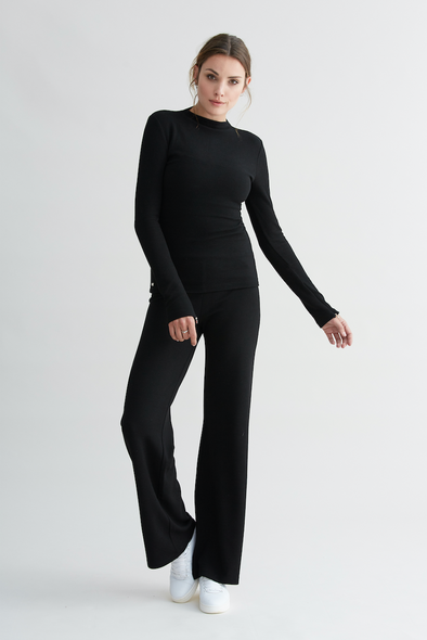 Soft structured flared Pants - Black
