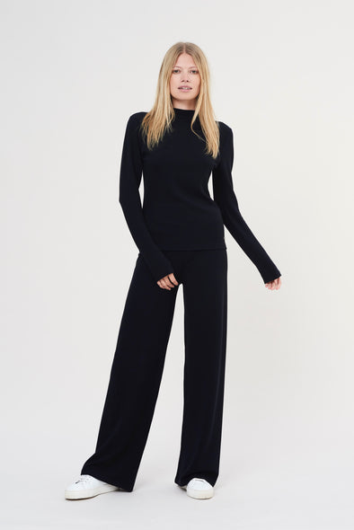 Soft structured flared pants - Midnight