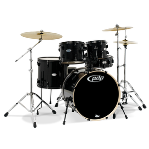 PDP Mainstage 5-Piece Shell Pack, Black Metallic w/Chrome Hardware and Cymbals; 8x10, 9x12, 14x16, 18x22, 5.5x14