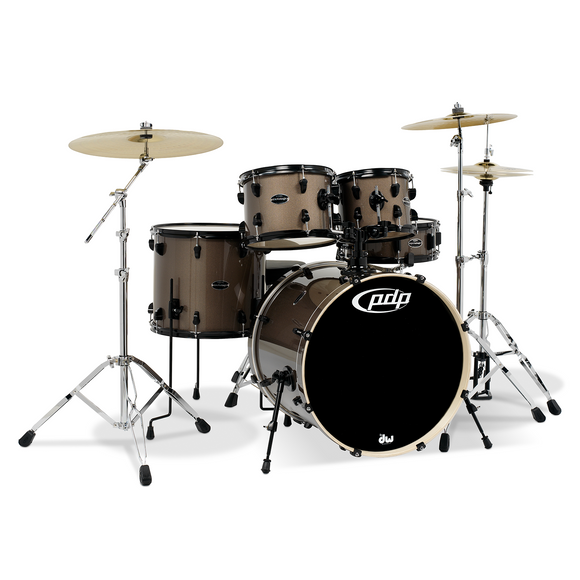 PDP Mainstage 5-Piece Shell Pack, Bronze Metallic w/Chrome Hardware and Cymbals; 8x10, 9x12, 14x16, 18x22, 5.5x14