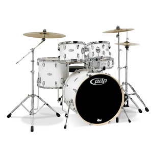 PDP Mainstage 5-Piece Shell Pack, White w/Chrome Hardware and Cymbals; 8x10, 9x12, 14x16, 18x22, 5.5x14
