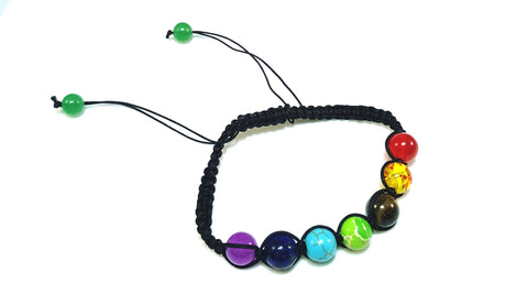 7 Chakra Natural Stone Yoga Bracelet Braided Rope Healing Energy Beads Bracelet