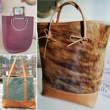Statement Totes ☆  Cowhide & Leather Tote ☆  Canvas & Leather Tote