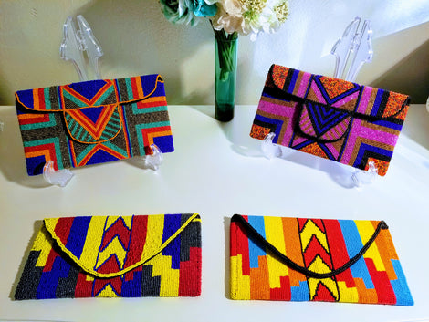Metallic & Hand Painted Leather Clutches