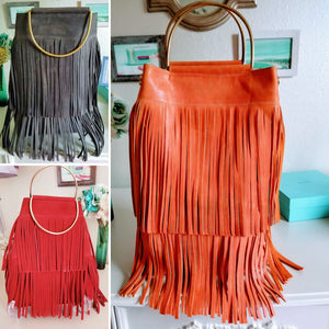 Pull-Up Oil Leather Fringe Totes - Zai & Ami Designs