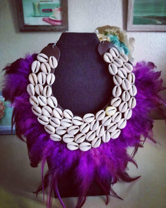 Cowrie Shells Statement Necklace On A Bed Of Leather And Feathers
