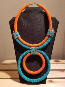 Teal & Orange Statement Necklace - Zai & Ami Designs