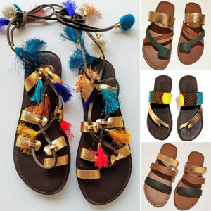 Metallic Leather Sandals - Zai & Ami Designs