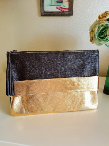 Metallic Gold and Brown Leather Clutch - Zai & Ami Designs