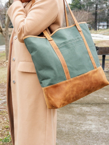 Oversized Leather & Canvas Tote - Zai & Ami Designs