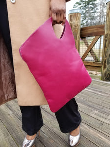 Asymmetric Leather Tote-Maroon - Zai & Ami Designs