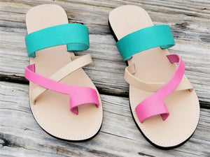 Pink & Turquoise Cross Toe Strap - Zai & Ami Designs