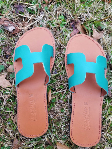 Heru Teal & pink Leather Sandal - Zai & Ami Designs