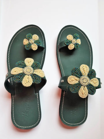 Hunter Green Floral Sandal - Zai & Ami Designs