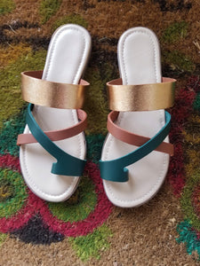 Metallic Cross Toe Sandal - Zai & Ami Designs