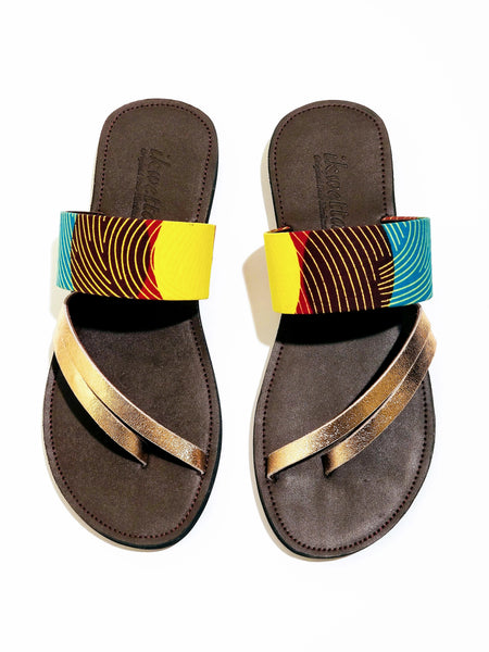 Aqua and Yellow Ankara Laser Sandal - Zai & Ami Designs