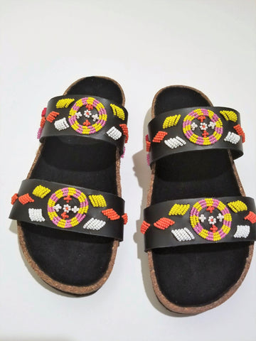 Neema beaded cork sandals - Zai & Ami Designs