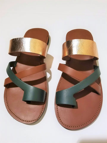 Caramel Metallic Toe Cross - Zai & Ami Designs
