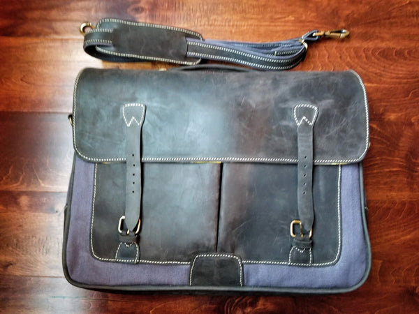 Leather Canvas Briefcase - Zai & Ami Designs