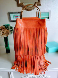 Orange Leather Fringe Tote - Zai & Ami Designs