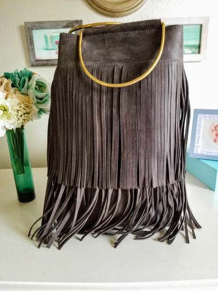 Grey Leather Fringe Tote - Zai & Ami Designs