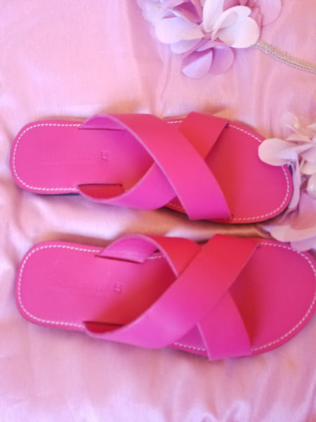 Pink Crossover Slides - Zai & Ami Designs