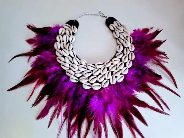 Purple Feathers Cowrie Shells Necklace - Zai & Ami Designs
