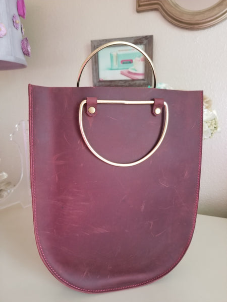 Maroon Leather Bucket Tote - Zai & Ami Designs