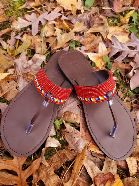 Thong beaded sandals-Red - Zai & Ami Designs