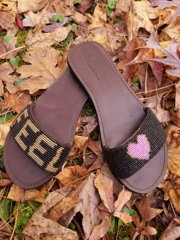 Feel love slide sandals - Zai & Ami Designs