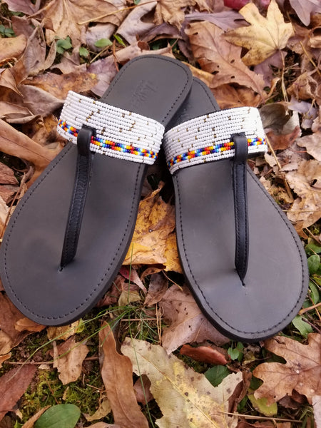Thong beaded sandals-White - Zai & Ami Designs