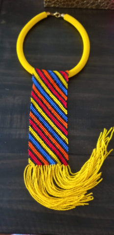 Yellow NeckTie Fringe Necklace