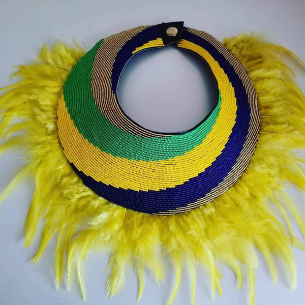 Meroso Beaded Feather Necklace - Zai & Ami Designs