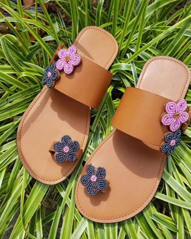 Beaded Petal Toe Loop Sandals