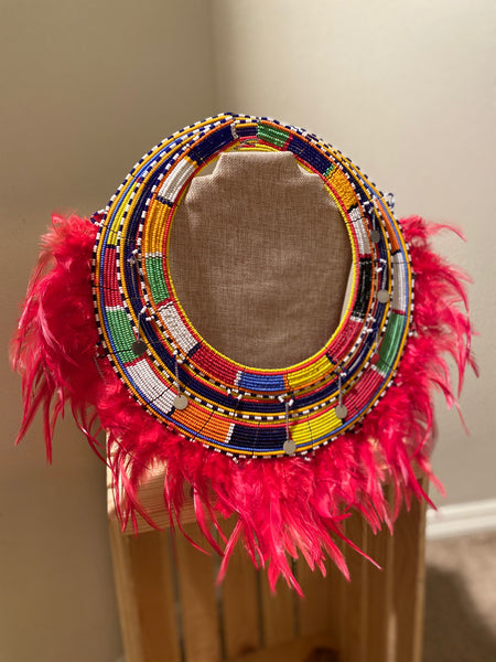 Statement Bead & Feather Ethnic Maasai Necklace