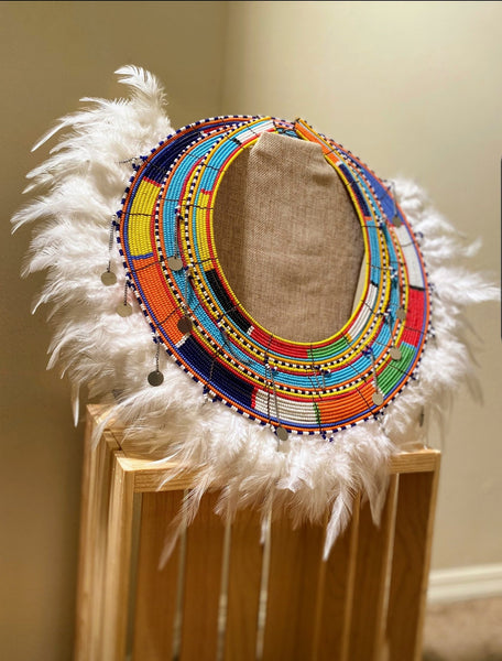 Red Feather Xhosa Masaai Necklace - Zai & Ami Designs