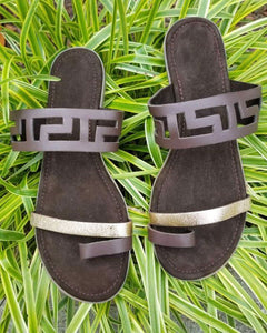 Chocolate & Gold Suede Sandals