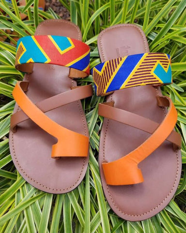 Ankara Cross Strap Toe Loop Sandals