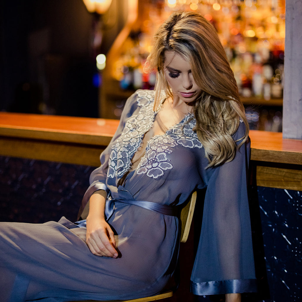 bespoke luxury silk robe french lace loungewear