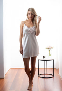 Ladies Bridal Chemise, Dawn Silk Satin, French Lace, front view luxury loungewear