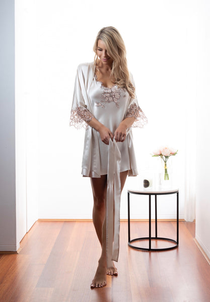 Womens Bridal lingerie kimono robe, Dawn Silk Satin, French Lace, front view luxury sleepwear