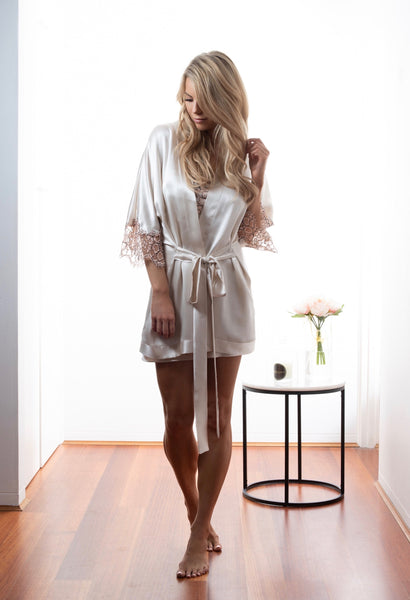 Womens Bridal kimono robe, Dawn Silk Satin, French Lace, front view luxury lingerie