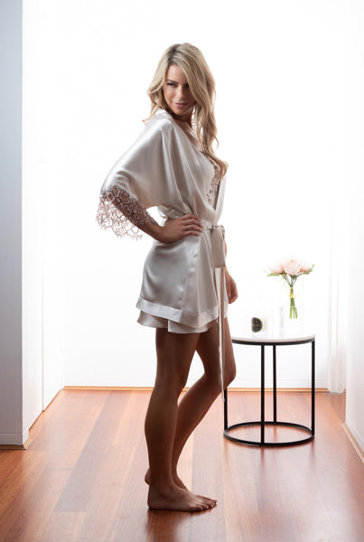 Ladies Bridal kimono robe, Dawn Silk Satin, French Lace, side view luxury loungewear